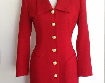 Red wool dress, S, M, red coat, coatdress, red coatdress, wool dress, 80's coat, 80's career dress, work dress