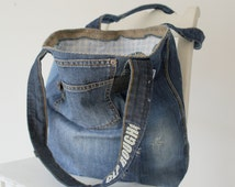 recycled patchwork jeans bag fully lined! beach bag, tote bag, shoulderbag, ibiza bag, canvas tote bag, upcycled denim bag, large tote bag