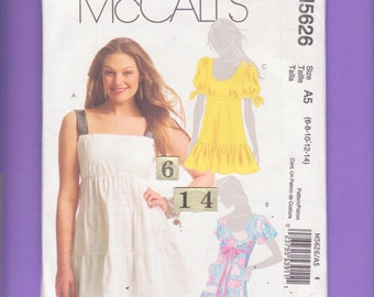 Loose Ruffled Shoulder Strap, Empire Waist Top/ McCalls 5626 Womens flutter, puffy sleeve summer top UnCut Sewing Pattern/ Size 6 8 10 12 14