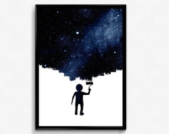 Outer space wall art etsy for Wall decor outer space