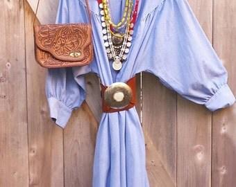 VINTAGE 70S Chambray dress / poet sleeves / large