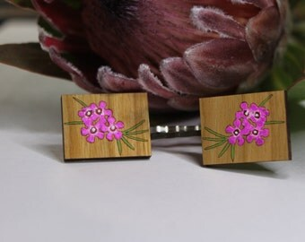 Geraldton Wax Flower Bobby Pins-Flower Hair Pins-Flower Bobby Pins-Handpainted-Wildflower Hair Pin-Australian Wildflower-Geraldton Wax