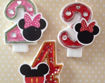 Mickey or Minnie Mouse Birthday Party Number Candle