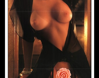 "Mature Playboy December 1991 : Playmate Centerfold Wendy Hamilton Gatefold 3 Page Spread Photo Wall Art Decor 11"" x 23"""