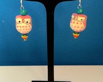 Porcelain owl earrings with sterling silver ear hooks