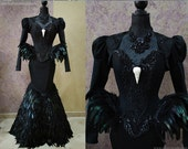 Black Swan Haute Goth Corset Dress ~ Gothic Feathers Raven Skull Witch Costume ~ Vampire Wedding Ball Masquerade ~ Halloween Outfit Corsetry
