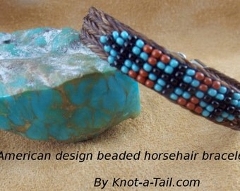 Horsehair bracelet,  Beaded cross, Southwest horse hair bracelet, Native American design,  beaded bracelet,  white-brown,horsehair bracelet