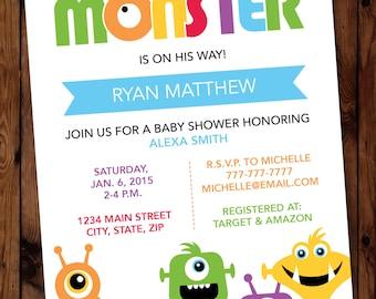 Monster Invitation, Little Monster Invitation, Monster Baby Shower Invitations, Little Monster Baby Shower Invitations, Little Monster Party