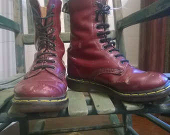 Well worn vintage Dr. Martens oxblood boots size 5 mens, 7 womens