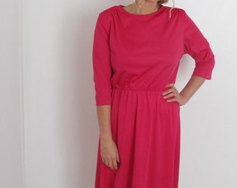 Women's Plus Size Hot Pink Vintage Dress with Three-Quarter Length Sleeves