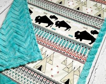 Buffalo Baby Blanket - Geo Buffalo - Designer Minky -Teal