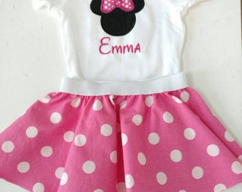 Minnie Mouse shirt or onesie - personalized Minnie Mouse top - Pink or Red - Minnie Mouse romper