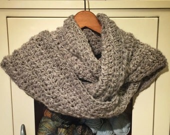 Handmade Scarf | Crochet Scarf | Undyed Wool Scarf | Natural | Organic | Women's Scarves | Men's Scarves | Grey | Gray
