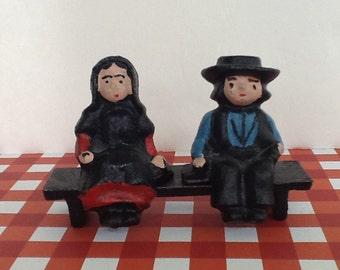 Amish Couple on Bench~Cast Iron~3 Piece Figurines~Vintage Cast Iron~Folk Art~Pennsylvania Dutch~Cast Iron Set~Amish Couple Toy~Painted Amish