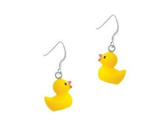 Resin yellow ducky earrings, yellow ducky necklace, yellow ducky, ducks, duck jewelry, duck earrings, duck necklace, duck gifts, water toys