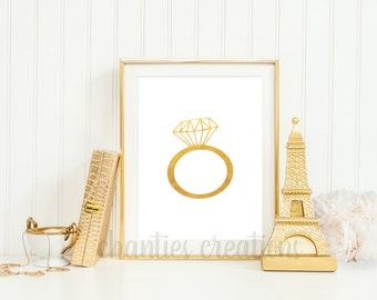 Diamond Ring Gold Foil Printable Wall Art 8x10 and 5x7. Printable Wall Art Engagement Ring Gold.
