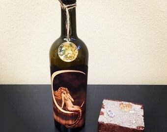 Mermaid On the Moon Wine Bottle