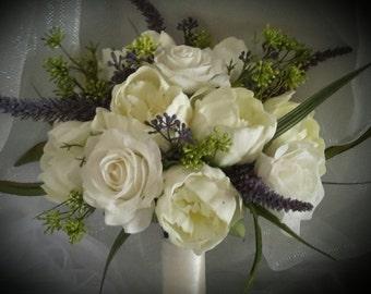 Wedding/ Communion Bouquet , Peonies Bouquet, White Bouquet, White and Purple Bouquet, Purple Bouquet, Tulle Bouquet, White Peonies