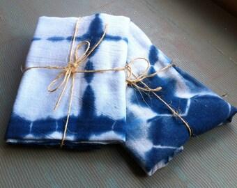 Shibori indigo dyed large flour sack towel tea towel