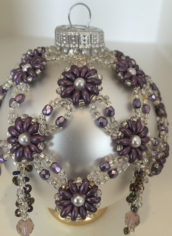 Items similar to Beaded Christmas Ornament Cover Seed Bead ...