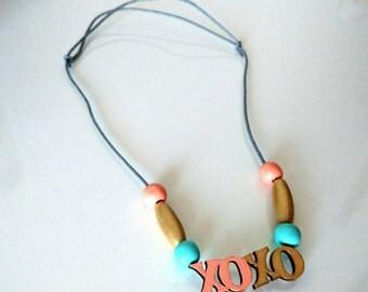 xoxo wooden beads necklace for kids girls children