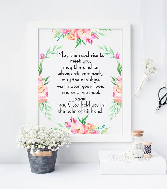Irish Blessing May The Road Quote Print Wall Decor Home