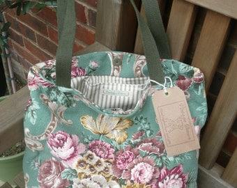 Handmade vintage floral barkcloth fabric tote bag - green/pink/gold