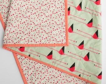 Modern Baby Quilt, Toddler Quilt, Baby Quilt, Baby Bedding, Crib Quilt, Baby Blanket, Nursery Decor, Flamingo, Baby girl quilt