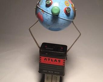 Chuck the Atlas - Assemblage Art Robot Globe Sculpture