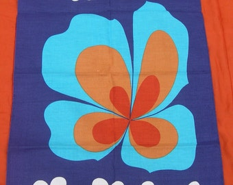 VINTAGE 60's 70's cloth POP Art flower Geometric blue psychedelic kitchen kitchen Never Used MOD 1960 1970 Flower power swinging london