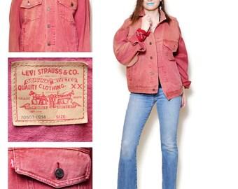 red jean jacket women levis denim jacket button down levis 90s clothing vintage womens clothing rocker chic bohemian festival boho Size XL
