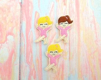 Gymnast feltie - Gymnast felt - Gymnastics bow - Gymnast hair bow center - Gymnast bow center - Gymnast applique  - Gymnast scrap booking