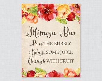 Printable Fall Mimosa Bar Sign - Rustic Bridal Shower Mimosa Bar Sign Printable - Red, Orange Autumn Flower Bridal Shower Sign - 0018