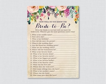 Floral Bridal Shower How Well Do You Know the Bride To Be Game - Printable Colorful Flower Bridal Shower - Who Knows the Bride Best? 0002-A