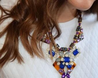 Purple Blue Tribal Embroidered Jewel Bib Collar Necklace