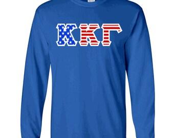 Kappa Kappa Gamma American Flag Twill Long Sleeve Tee