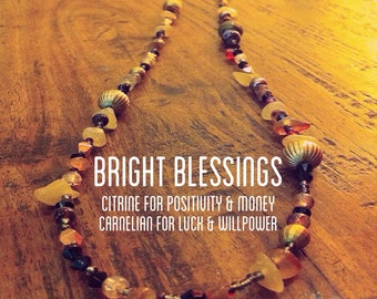Citrine & Carnelian Bright Blessings : Luck, Money, Creativity -- Healing Crystal Magic necklace