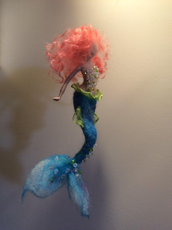 needle felted mermaid waldorf inspired wool felted doll