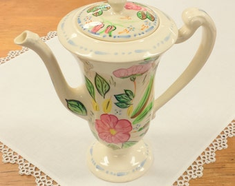 Blue Ridge Ceramic Chocolate Pot ~ Hand Painted Appalachian Folk Art ~ Pottery ~ Pattern Rose Marie