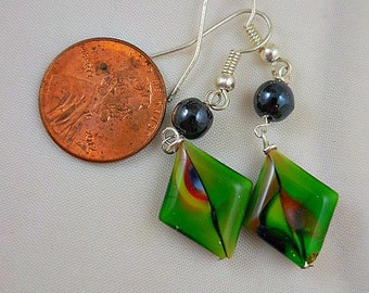 Green Czech Black Onyx Dangle Earrings