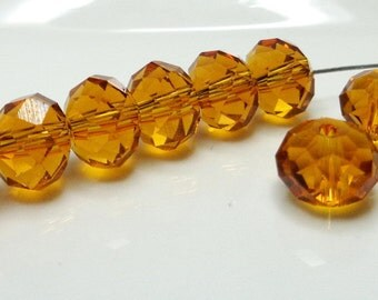 25 Crystal facets - high quality - round glass beads - 6x4mm - topaz - dark amber - hole 1mm