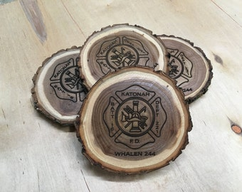 Firefighter Gift | Fireman Gift | Fire Emblem Gift | Firefighter Decor | Maltese Cross Gift | Fathers Day | Personalized Coasters, Set of 4