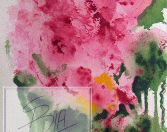 Abstract Floral, Limited Edition Print, painting, Bouquet, Pink feminine wall Art, shelf art. Small.