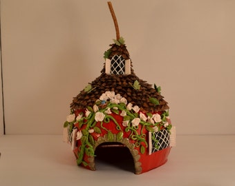 Red Fairy House or Toad House Gourd and Pinecone