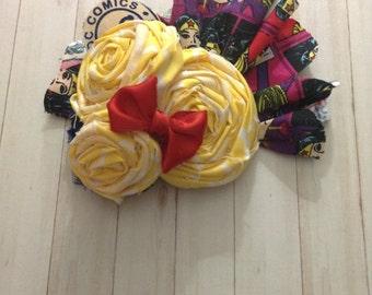 Fabric Flower Wonder Woman headband red, yellow and blue