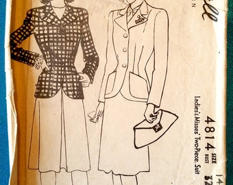 """Vintage 1942 jacket skirt suit sewing pattern - McCall 4814 - size 14 (32"""" bust, 26.5"""" waist, 35"""" hip) - 1940s"""