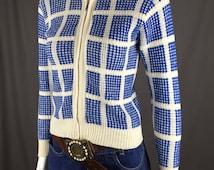 70's Women's Zip-Front Sweater Jacket Blue & Cream Block Design Geometric squares