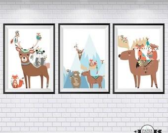 Nursery prints, Boys prints, Boys room decor, Woodland animal prints, Fox, Bear,Baby Decor, Tribal prints, Custom sizes,
