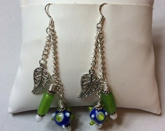 Lampwork Bead Earrings, Blue Green and White, Silver Plated Chain