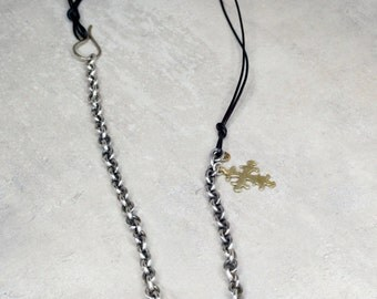 Silver Chain & Bronze Ethiopian Cross Necklace